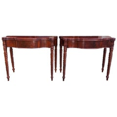 Pair of American Sheraton Mahogany Serpentine Game Tables, Circa 1820