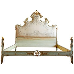 Vintage Louis XV Style Bed Finished in Venetian Green and Gold