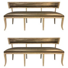 Pair of Cerused Oak Neoclassical Style Benches