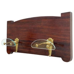 Rosewood Wall Hanger, Brass Hooks and Fontana Arte Style Glass, Italy Art Deco