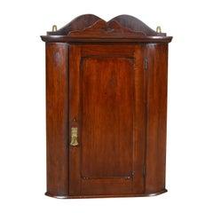Small Antique Corner Cabinet, English, Walnut, Wall, Hanging, circa 1900