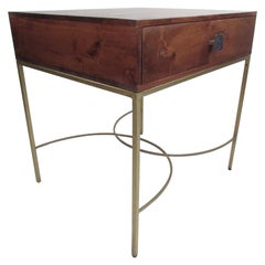 Contemporary Modern Single Drawer End Table