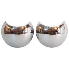 "Chrome Wall Sconces ""Half Moon"", Italy"