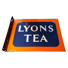Double Sided Enamel Advertising Flag Sign for Lyons Tea