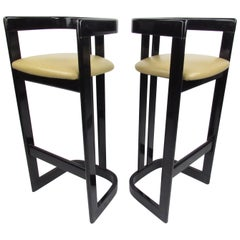 Pair of Contemporary Black Lacquer Counter Stools
