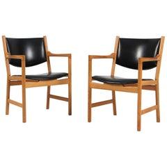 Hans J. Wegner Lounge / Armchair Model JH 872, Oak and Leather, Johannes Hansen