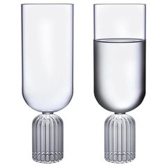 EU Clients Pair of Czech Contemporary May Medium Tall Glasses Handmade, in Stock