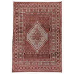 Antique Oushak Carpet, Pink, Red, Ivory, Brown, circa 1930s
