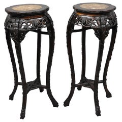 Pair of Carved Rosewood Marble-Top Oriental Pedestal Plant Stand Tables