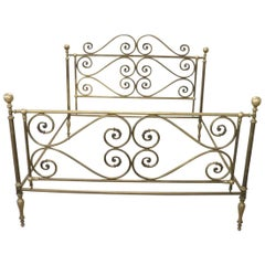 20th Century Italian All Brass Double Bed