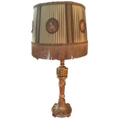 French Hand Carved Golden Wood Louis XVI Style Table Lamp, 1900