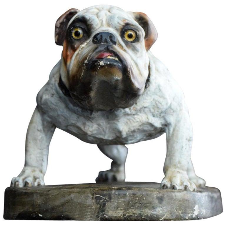 Plaster English Bull Dog Statue For Sale