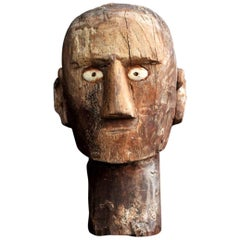 Folk Art Tribal Wooden Head