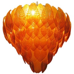 Murano Art Glass Round Orange Color Italian Art Deco Chandeliers, 1940