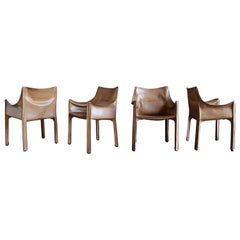 Set of Four Leather Cab Armchairs by Mario Bellini for Cassina