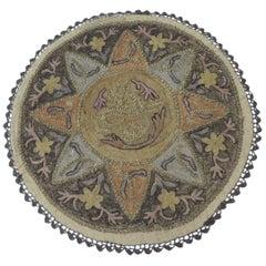 Antique Ottoman Empire Turkish Embroidery Tughra Textile Panel