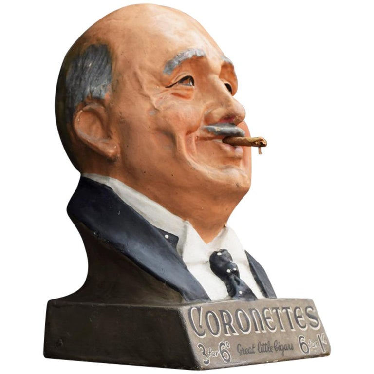 Cigars Advertising Bust, circa 1920 For Sale