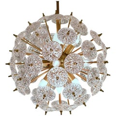 Val Saint Lambert Sputnik Crystal Discs Chandelier in the Style of Emil Stejnar