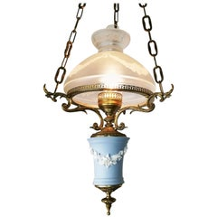 English Wedgwood Porcelain Chandelier Gilt Bronze Victorian Library Hanging Lamp