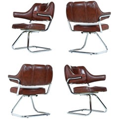 Swivel Cantilever Chrome Dinette Chair Set by Howell, 1970s