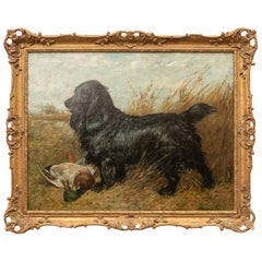 Oil on Canvas,. Portrait of a Black Spaniel with a Duck by John Emms