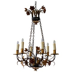 Italian Metal Painted and Gilt Six-Light Chandelier with Flowers