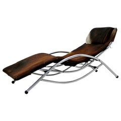 Mid-Century Modern Chrome & Brown Cow Hide Chaise Lounge Corbusier Style, 1970s