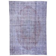 Overdyed Carpet, Distressed, Violet Tones