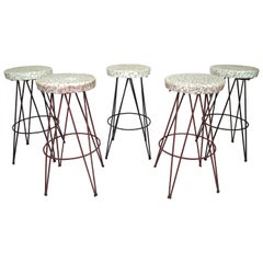 Vintage Stools with Hairpin Legs