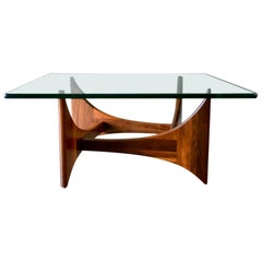Adrian Pearsall Walnut and Glass Coffee Table, circa 1965