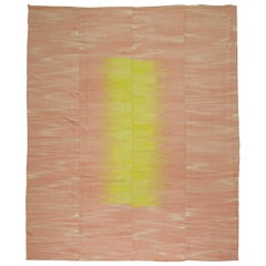 Modern Retro Turkish Deco Kilim, Pink Yellow
