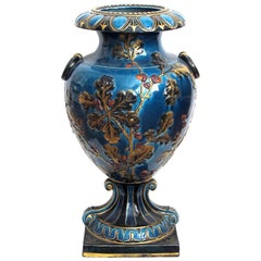 Large and Exquisitely Rendered English Teal-Glazed Ceramic Urn