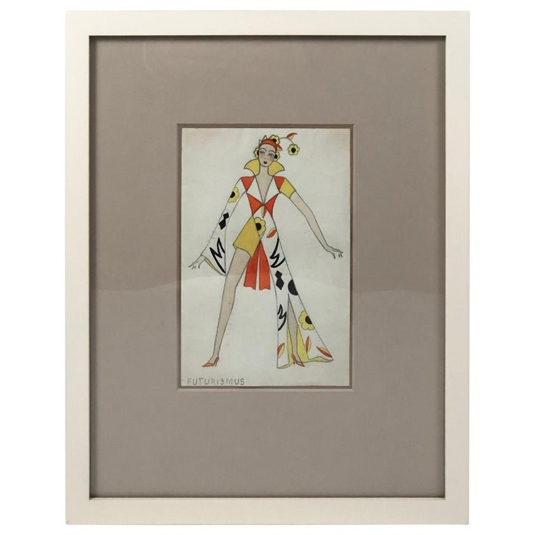 Swiss Fashion Drawing of a Woman in Futurist Clothing, circa 1920s For Sale