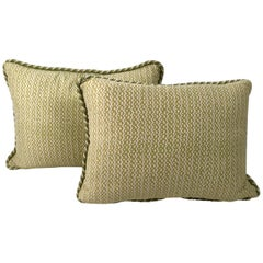 Pair of Apple Green and White  Fortuny Pillows in  the Tapa Pattern
