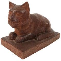 Folk Art Hand Carved Wood Cat Sculpture