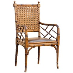 Vintage Bamboo and Cane Armchair