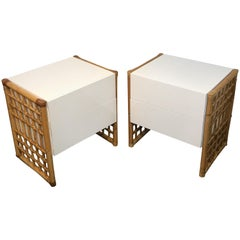 Pair of Sleek Modern White Lacquered and Rattan End Tables or Nightstands