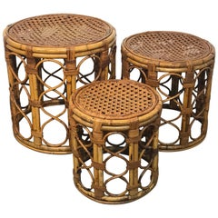 Set of Three Graduating/ Nesting Bamboo, Rattan and Reed Nesting Side Tables