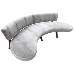 Mid-Century Floating Curved Sofa