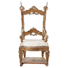 18th Century Venetian Neoclassical Parade Chair or Kings Chair