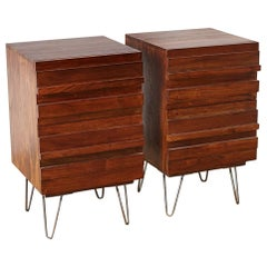American Modern Style Mahogany Nightstands on Hairpin Legs