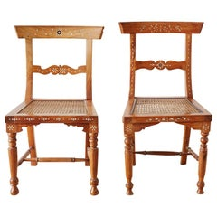 Pair of Anglo-Indian Koa Chairs with Bone Inlay