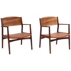 Børge Mogensen Pair of Lounge Chairs, Model 147, Teak and Leather, Søborg Møbler