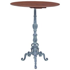 1920s French Cast Iron and Mahogany Bistro Table