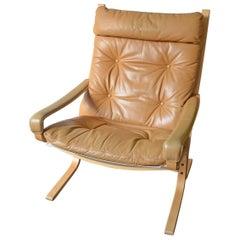 Lounge Chair Siesta by Ingmar Relling for Westnofa, Cognac Leather 1960s Norway