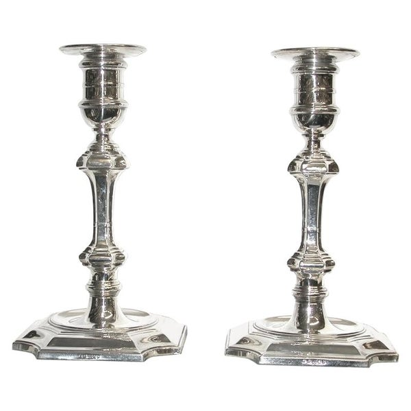 Pair of Edwardian Candlesticks by Parkes and Co of London, circa 1905