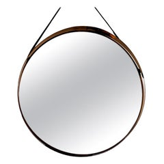 Round Decorative Mirror with Copper Frame, Scandinavian