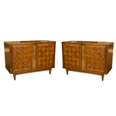 Pair of Midcentury Marquetry Wood Cabinets