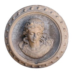 Large Victorian Ceramic Roundel Wall Feature