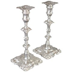 Pair of Cast George III Silver Candlesticks, London, 1762
